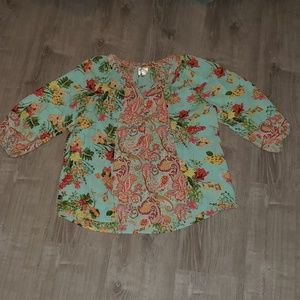 Anthropologie Fig and Flower semi sheer blouse